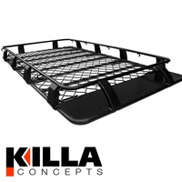 Alloy Roof Rack Nissan Patrol GU GQ MQ 2200mm x 1250mm Gutter Mount 4WD Black