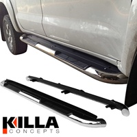 Toyota Hilux Dual Cab Stainless Steel Side Step Rails Running Board OEM Style