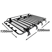 Alloy Roof Rack Landcruiser 76 Series Wagon Tradesman Style 2200mm Black