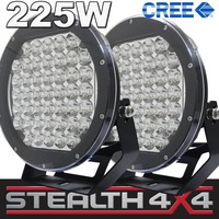 2 x STEALTH 10 inch LED Driving Lights 225W CREE 2 Spot & Spread Covers 4WD 4X4