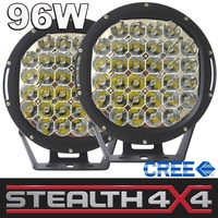 2 x STEALTH 9 inch LED Driving Lights 96W CREE. 2 Spot & Spread Covers 4WD 4X4